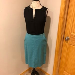 Loft teal pencil skirt with pockets